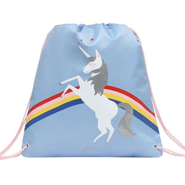 Joules Blue Unicorn Drawstring Bag