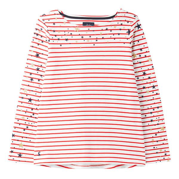 Joules Cream Red Stripe Harbour Print Long Sleeve Top