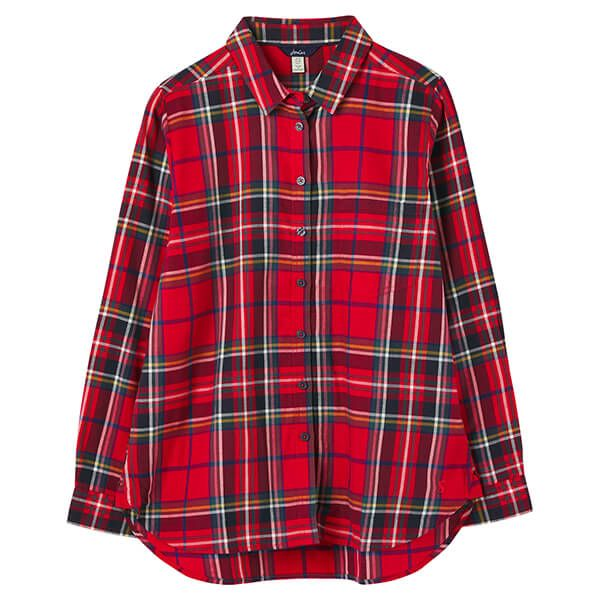 Joules Red Check Lorena Longline Brushed Woven Shirt