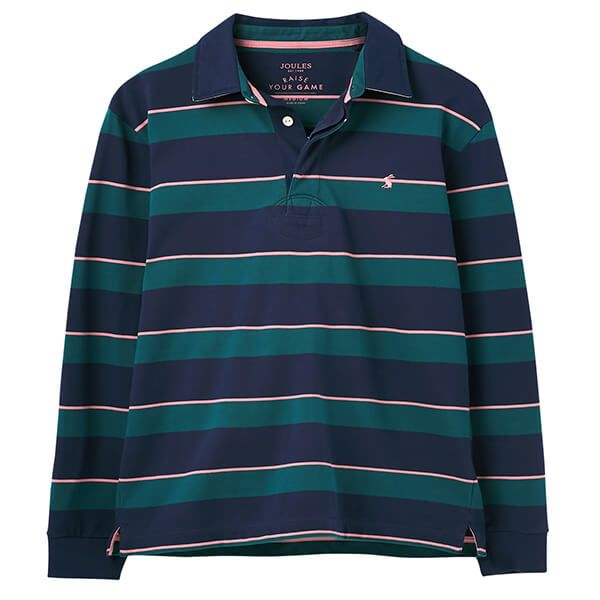 Joules Green Pink Stripe Onside Rugby Shirt