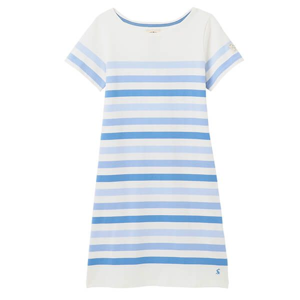 Joules Cream Stripe Riviera Printed Dress with Short Sleeves