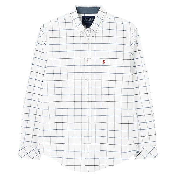 Joules White Check Welford Long Sleeve Classic Fit Check Shirt
