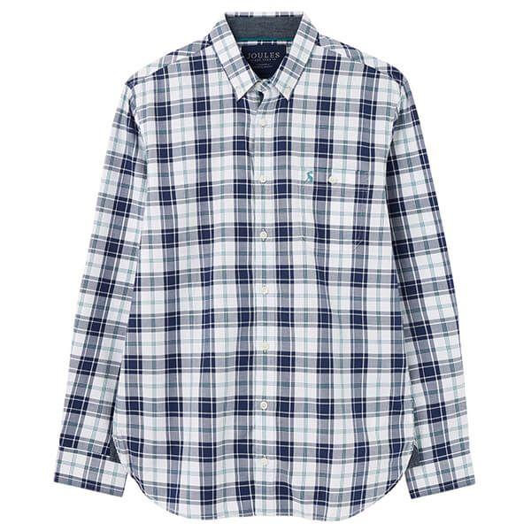 Joules Green Blue Check Hewitt Long Sleeve Classic Fit Shirt