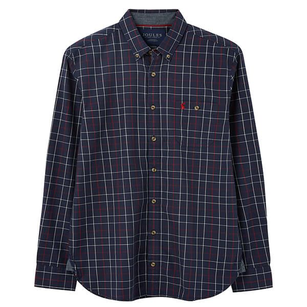 Joules Navy Red Stripe Hewitt Long Sleeve Classic Fit Shirt