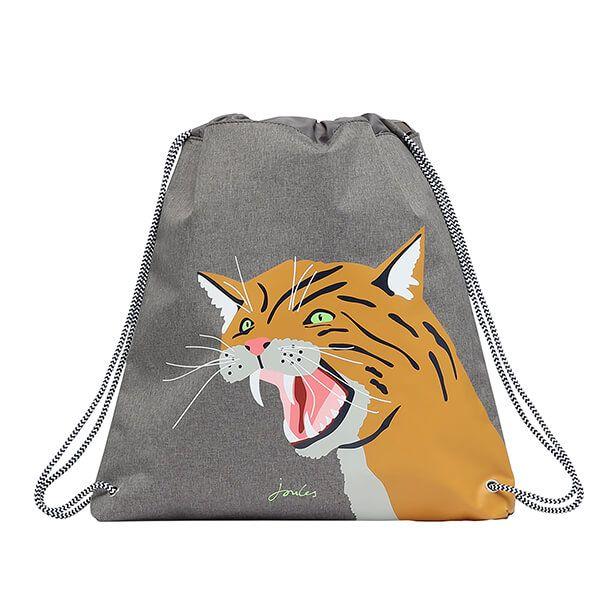 Joules Grey Wild Cat Active Drawstring Bag