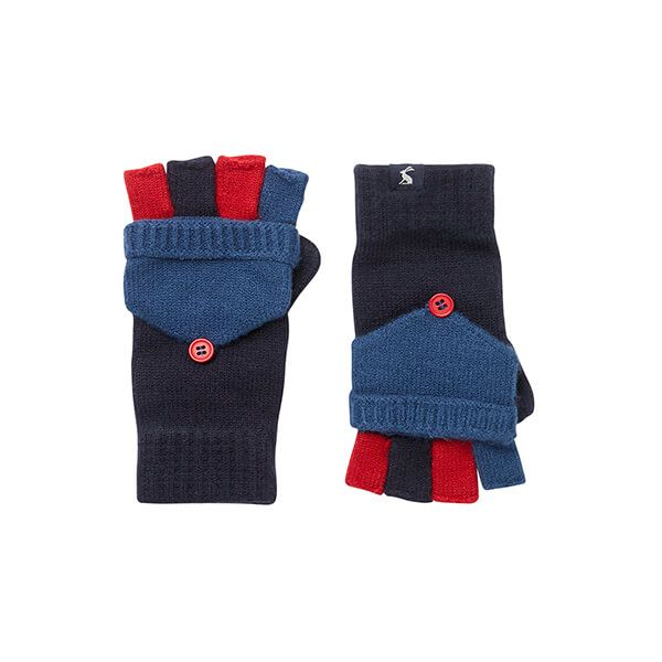 Joules French Navy Handy Knitted Converter Mittens Size 8-12 Years