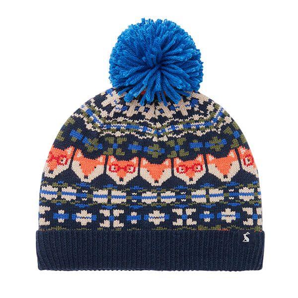 Joules Navy Fox Fairisle Toasty Fairisle Bobble Hat