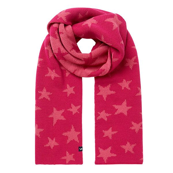 Joules Pink Star Bobble Intarsia Scarf