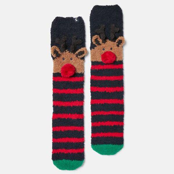 Joules Navy Reindeer Festive Fluffy Socks