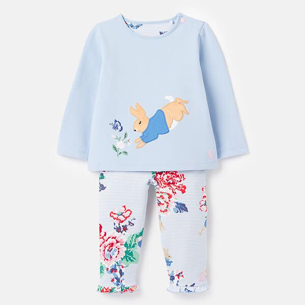 Joules Peter Rabbit Poppy Organic Long Sleeved Applique Top With Frill Leggings