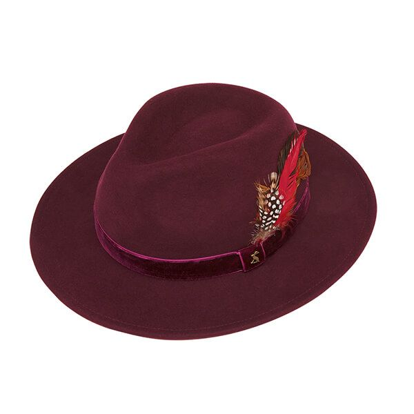 Joules Ox Blood Fedora Hat