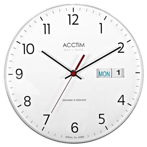 Acctim Date Time Wall Clock White