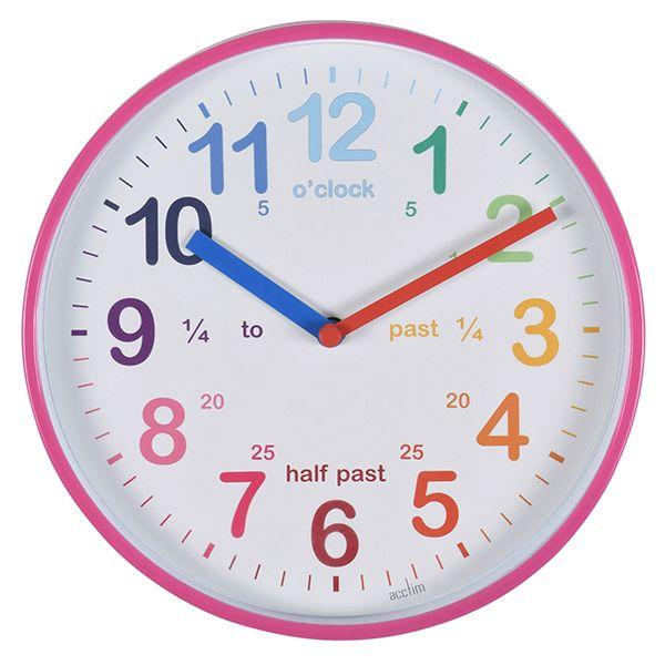 Acctim Wickford Kids Wall Clock Pink
