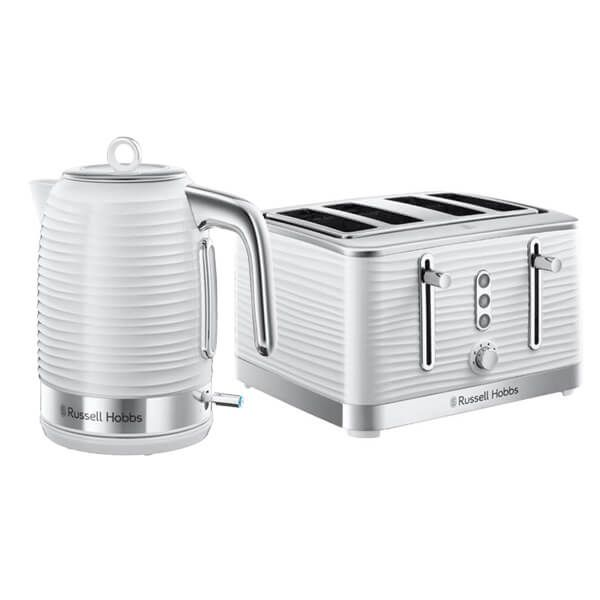 Russell Hobbs Inspire Kettle & 4 Slice Toaster Set White