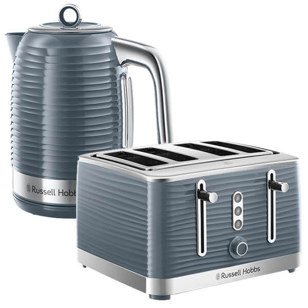 Russell Hobbs Inspire Kettle & 4 Slice Toaster Set Grey