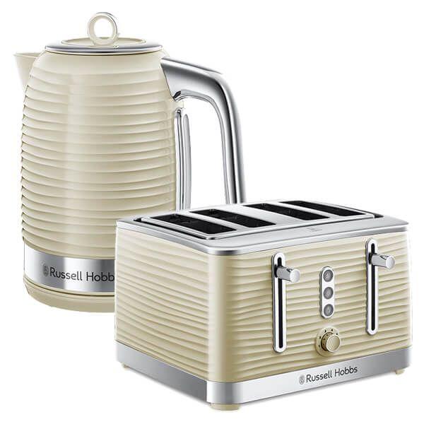 Russell Hobbs Inspire Kettle & 4 Slice Toaster Set Cream