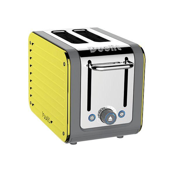 Dualit Architect 2 Slot Grey Body With Citrus Yellow Panel Toaster