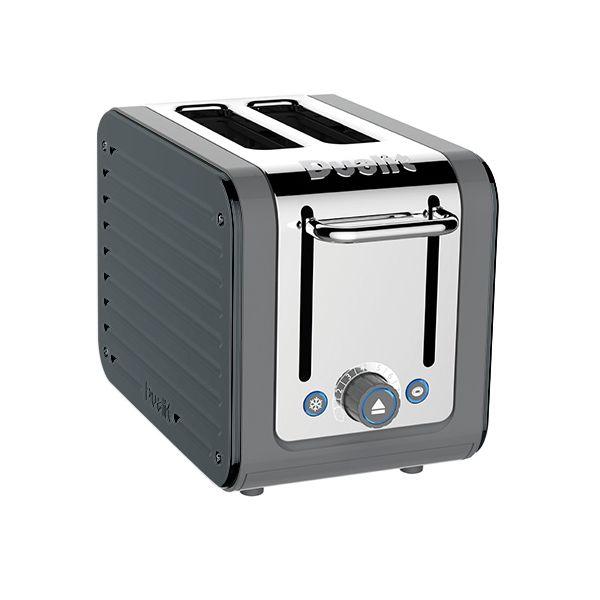 Dualit Architect 2 Slot Grey Body With Metallic Charcoal Panel Toaster