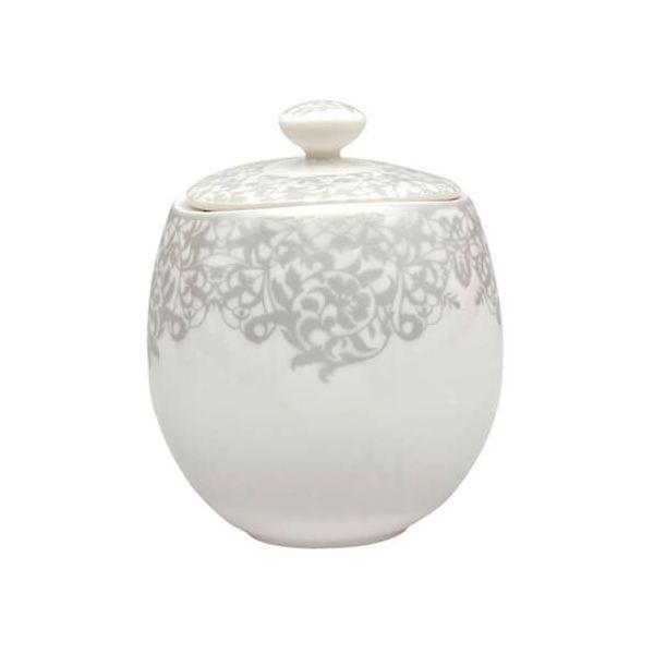 Denby Monsoon Filigree Silver Covered Sugar Bowl