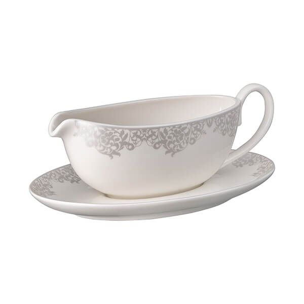 Denby Monsoon Filigree Silver Sauce Boat & Stand