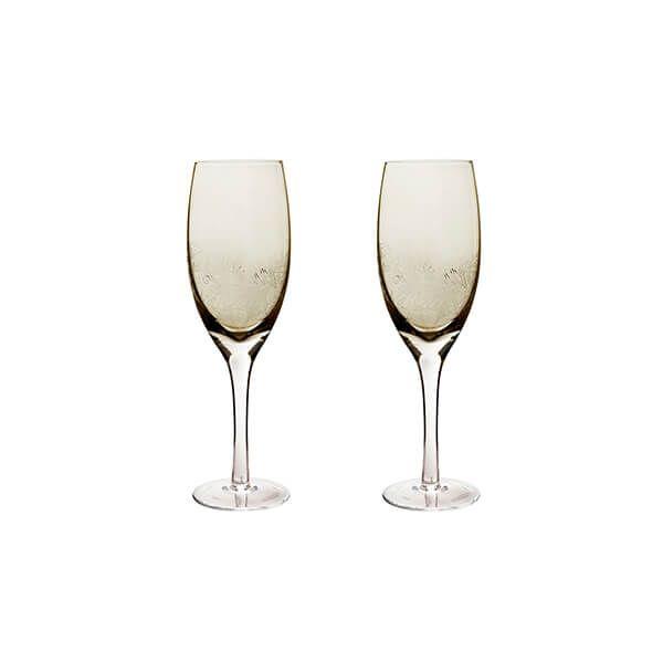 Denby Monsoon Lucille Gold Set Of 2 White Wine Glasses