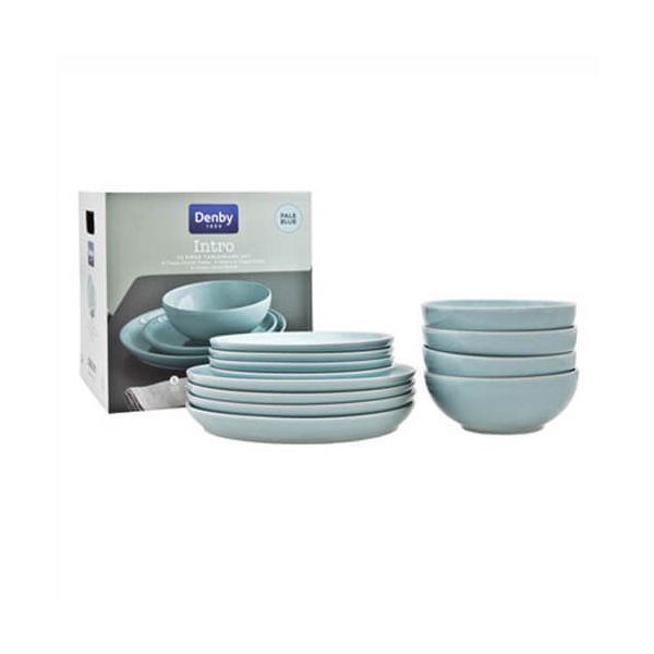 Denby Intro Pale Blue 12 Piece Tableware Set