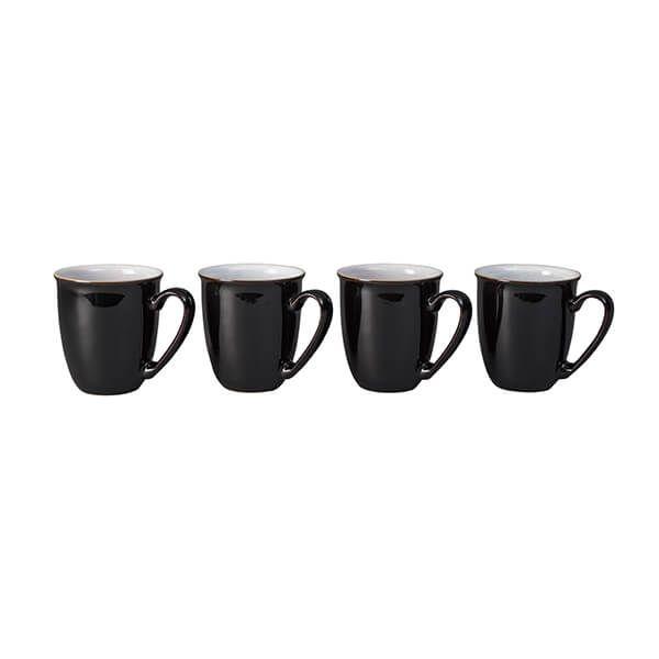 Denby Elements Black Set Of 4 Coffee Beaker Mugs