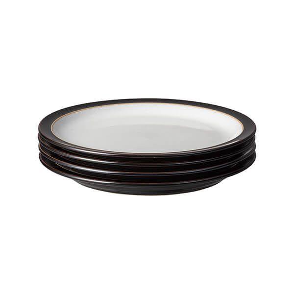 Denby Elements Black Set Of 4 Medium Plate