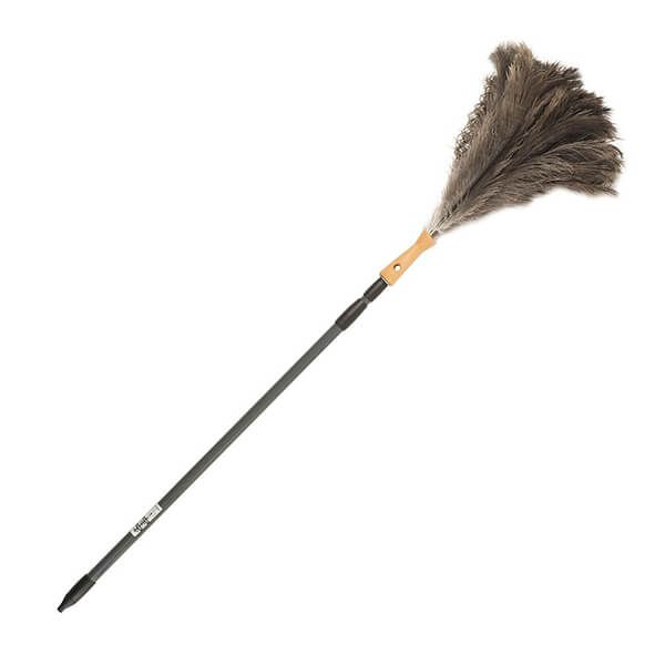 Valet Extendable Ostrich Feather Duster 1.5 to 2.5m Silver Handle