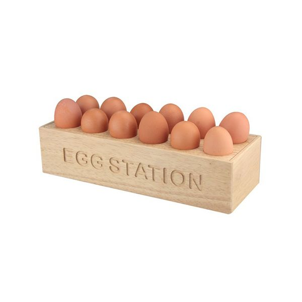 Rubber Wood 12 Egg Station