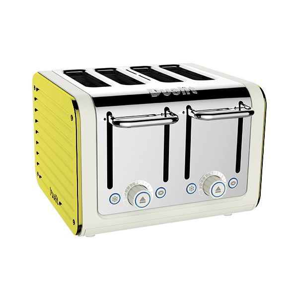 Dualit Architect 4 Slot Canvas Body With Citrus Yellow Panel Toaster