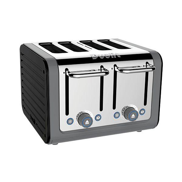 Dualit Architect 4 Slot Grey Body With Gloss Black Panel Toaster