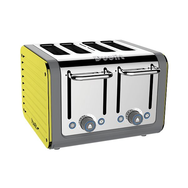 Dualit Architect 4 Slot Grey Body With Citrus Yellow Panel Toaster