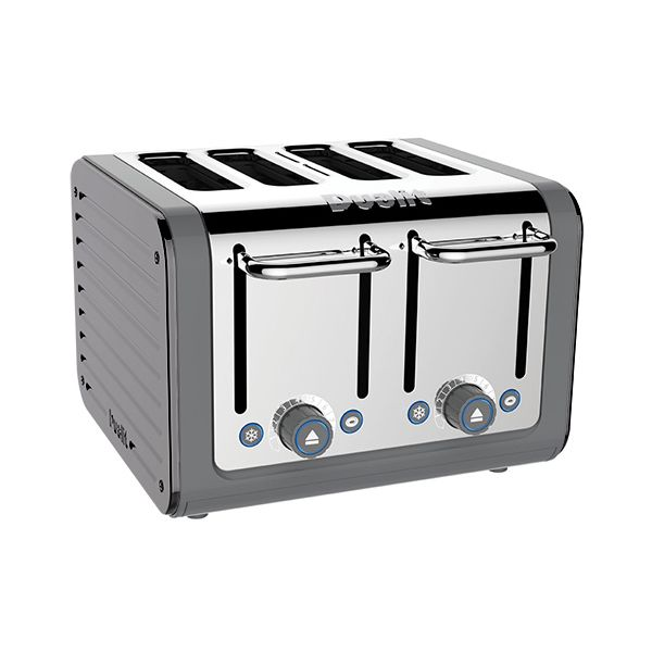 Dualit Architect 4 Slot Grey Body With Metallic Silver Panel Toaster