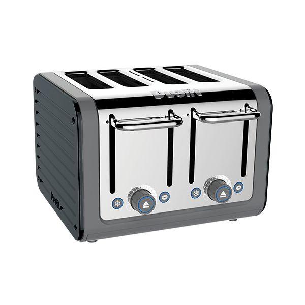Dualit Architect 4 Slot Grey Body With Metallic Charcoal Panel Toaster