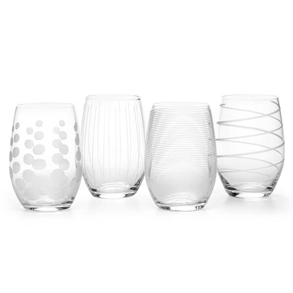 Mikasa Cheers Set Of 4 17oz Stemless Wine Glasses