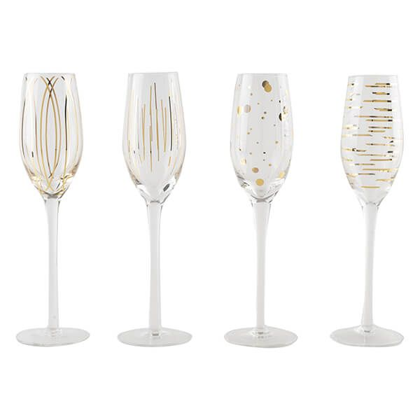 Mikasa Cheers Metallic Gold Set Of 4 7oz Flute Glasses