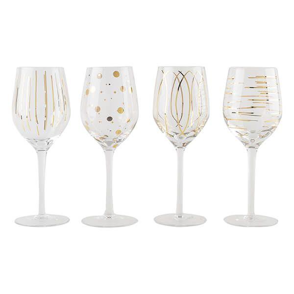 Mikasa Cheers Metallic Gold Set Of 4 14oz Wine Glasses