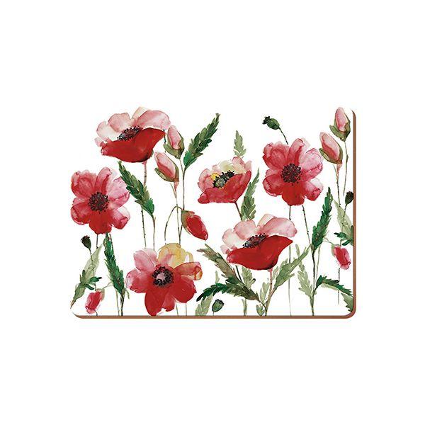 Creative Tops Watercolour Poppy Set Of 6 Premium Table Mats