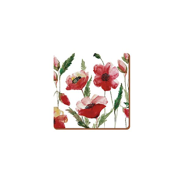 Creative Tops Watercolour Poppy Set Of 6 Premium Coasters