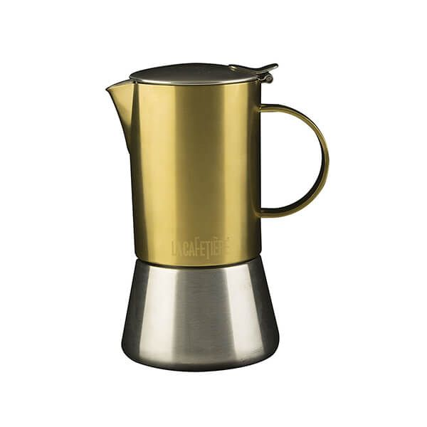 La Cafetiere Edited 4 Cup Stainless Steel Stovetop Espresso Maker Brushed Gold