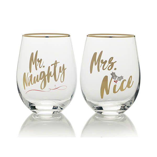 Mikasa Cheers Set Of 2 Stemless Mr Naughty And Mrs Nice Wine Glasses