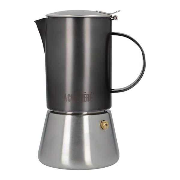 La Cafetiere Edited 4 Cup Stainless Steel Stovetop Espresso Maker Gun Metal Grey