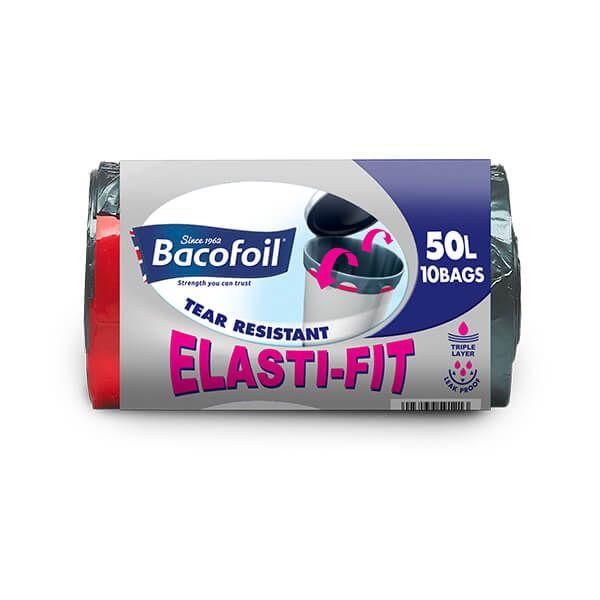 Bacofoil 10 x 50L Elasti-Fit Kitchen Bin Liners