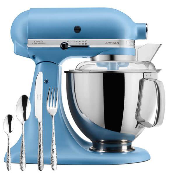 KitchenAid Velvet Blue Artisan 4.8L Stand Mixer with FREE Gift