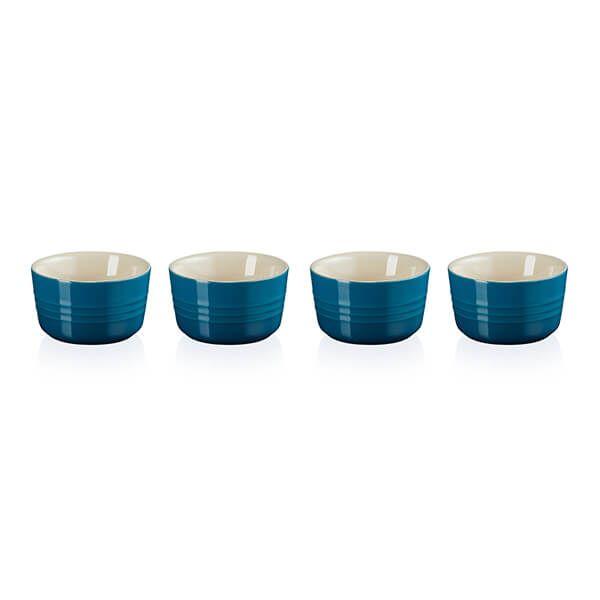 Le Creuset Marseille Blue Stoneware Set of 4 Mini Ramekins