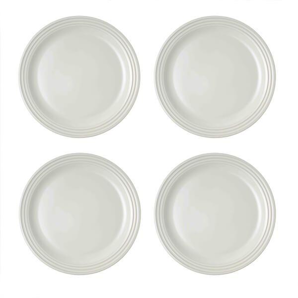 Le Creuset White Stoneware 27cm Dinner Plates Set Of 4