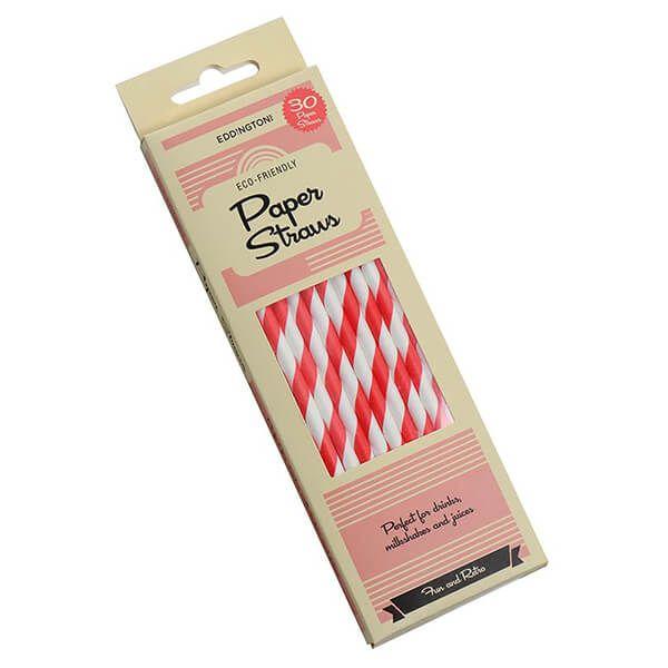 Eddingtons Paper Straws Red Stripe 30 Pack