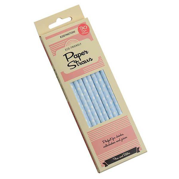 Eddingtons Paper Straws Blue And White Polka Dot 30 Pack