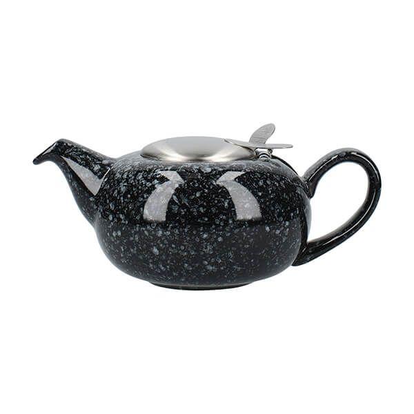 London Pottery Pebble Filter 2 Cup Teapot Gloss Black Flecked